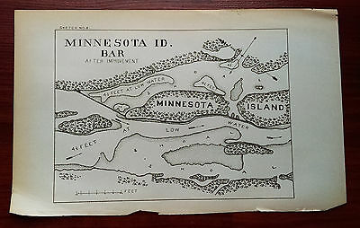 Early 1900's Minnesota ID Bar Island Mississippi River Shoal Sketch Map
