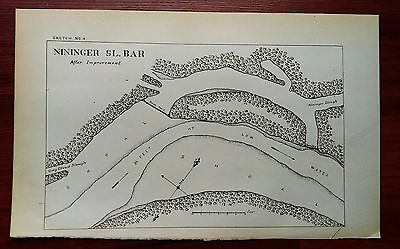 Early 1900's Nininger SL Bar Mississippi River Shoal Sketch Map