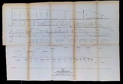 1877 Harbor of Vicksburg Yazoo River Profiles and Cross Sections Mississippi Map