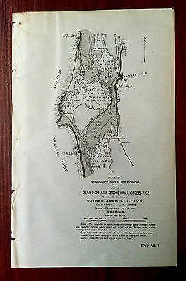 1898 Map Island 34 Stonewall Crossings Dredge MS River Commission Morgan's Point