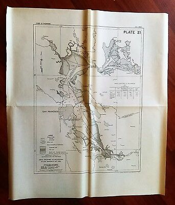 1959 San Francisco Bay Survey Map Showing Existing and Authorized Highway Bridge