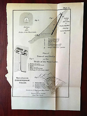 Late 1800's Sketch Map Plan of Mine Tunnel in Cunningham Gulch Colorado