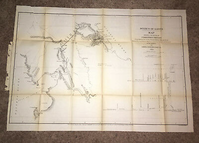 1866 Map Route of Comm. Prevost Shows 1854 Survey of Isthmus by Gisborne Canals