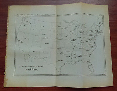 1891 Map of Entire U.S. Showing Agricultural Experiment Stations