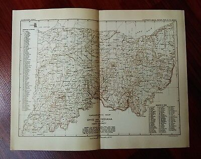 1897 USGS Topographical Counties Map of Ohio and Indiana by Frank Leverett