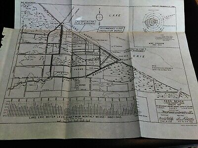 1946 Reno Beach Lucas Co, Ohio Locality Map Lake Erie Water Levels US Army