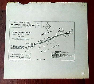 1892 Map of Sanders Creek Shoal Beaufort NC Bogue Sound Wharf Dredging