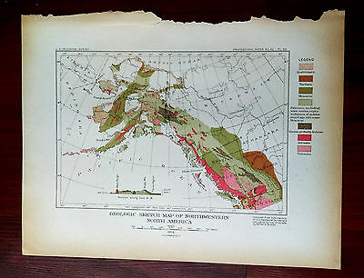 1904 USGS Map Geologic Sketch Northwestern North America by A. Brooks