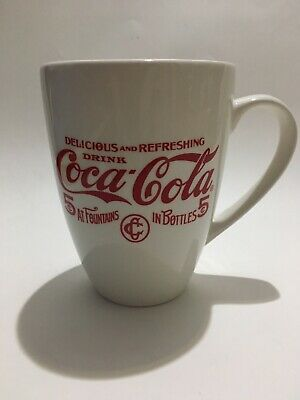 "NEW Coca Cola White Mug 5.25"" Tall"