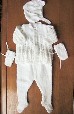 Baby Soft white 5 piece Pram suit hand knitted with james brett 0 - 3 months new