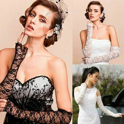 Wedding Party Travel Sexy Women's Fingerless Lace Driving Long Arm Elbow Gloves