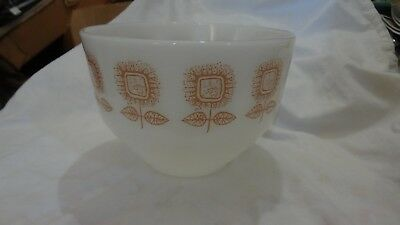 Vintage Federal Glass Nesting Mixing Bowl Staking Square Sunflower