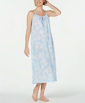 Charter Club Large Blue Floral Printed Cotton Sleeveless Long Nightgown