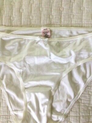 Vintage Victoria's Secret Satin Panties, Ivory, Cream,Second Skin, LARGE, NWOT