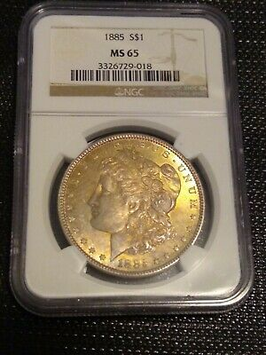 NGC Certified US Old Coin, Morgan Silver Dollar, 1885-P MS65 Toning Free Ship