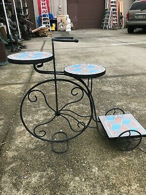 Mosaic Plant Stand in Shape of Bicycle