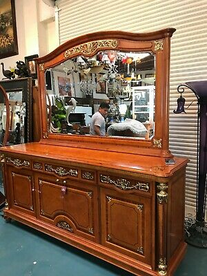 Burled Wood Buffet Table with Mirror