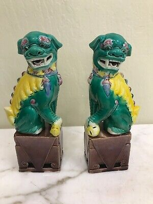 Pair of Porcelain Chinese Foo Lion Statues