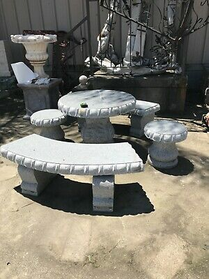 Hand-Carved 5-Piece Granite Garden Table Set