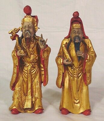 2 Chinese Carved Wood Old Men Scholars Immortals Figurines Signed Gilded Gold