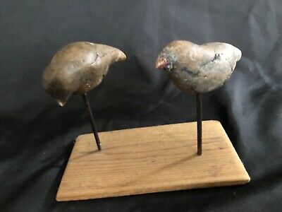Hand Carved Burl Knot Wood Folk Art Bird Theme Primitive