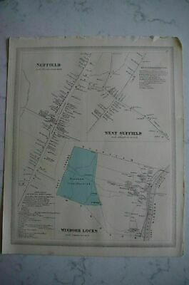 Map 1868 Suffield, Connecticut FW Beers