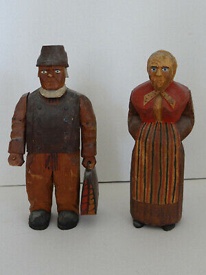 Wood Carvings Folk Art Man & Woman Axel Peterson Geneva IL Swedish Costumes