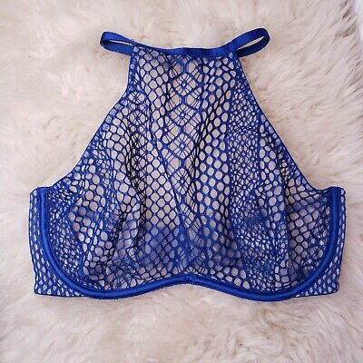 Victorias Secret Very Sexy Fishnet High Neck Blue Lace Sheer Bra 34D