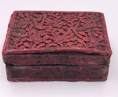 Antique Chinese Carved Cinnabar Red Box Bird & Floral