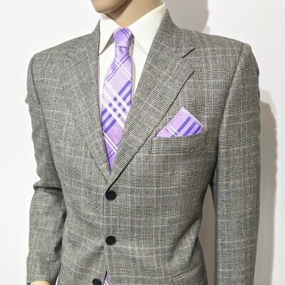 New Gieves & Hawkes Savile Row Mens Suit Cashmere Check Houndstooth 40L W33 L34