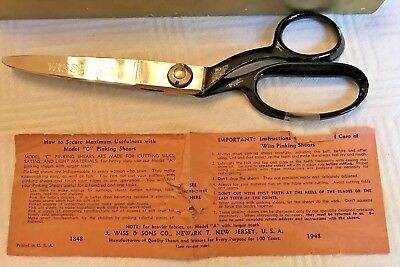 Vintage Wiss Pinking Shears Model C Scissors Original Box Red Leather Case 1948