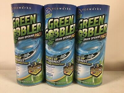 (3 CANS / 9 PACS) GREEN GOBBLER Drain Opener Clog Remover Toilet Sink Bathtub