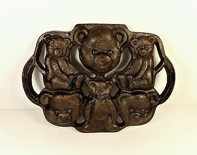 Vintage Cast Iron Trivet Teddy Bear Shaped Chocolate Candy Cookie Baking Mold