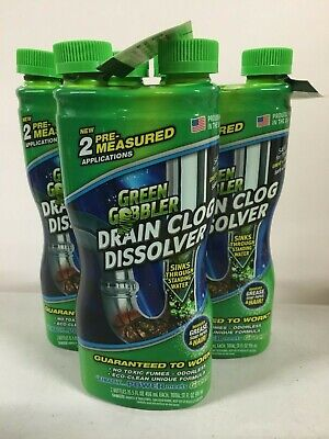 (THREE 2-Packs) DISSOLVE Liquid Hair & Grease Clog Remover Drain Cleaner 15.5OZ