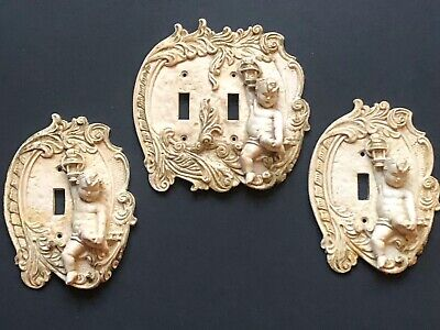 *WOW 3 Vintage White Gold CHERUB Light Lightswitch Plates Outlet COVERS Antique
