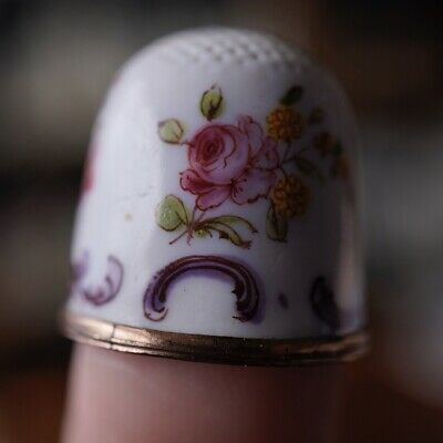 English Enamel thimble, scattered flowers & scrolls, c. 1770