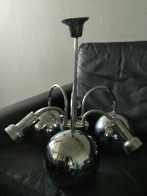 Retro Mid Century Vintage 70s Chrome Ceiling Light Chandelier