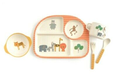 5 Piece Toddler Child Baby Dinner Set Eco Friendly Bamboo Safari Zoo Animal Gift