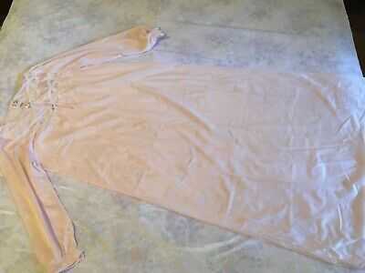 VINTAGE 70s VARIETY PINK BRI NYLON LONG SLEEVED ANKLE LENGTH NIGHTIE vtge 14 New