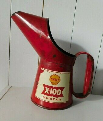 Vintage Shell X-100 Motor Oil Pint Pourer 1961 - Auto Motor Bike Cycle Tin Can