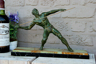 French art deco Spelter bronze patina spear throwing athlete marble base statue