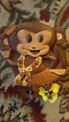 Hawaii Island Wood Colllection 3 Piece Wood Puzzle Jewelry Box HandCarved Monkey
