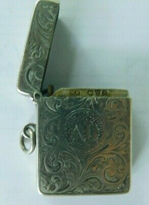 Antique Sterling Silver Vesta  Match Case, Made In Chester 1900-01
