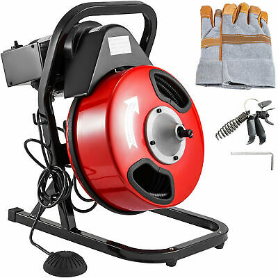 "50' x 1/2"" Drain Cleaner 250 W Drain Cleaning Machine Sewer Clog w/ 5 Cutters"