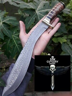 Beautiful Custom Hand Made Damascus Steel Hunting Kukri Knife Handle Camel Bone