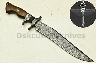 Beautiful Custom Hand Made Damascus Steel Hunting Bowie Knife Handle Rose Wood