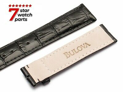 FITS BULOVA WATCH BLACK LEATHER Watch Strap Band For Buckle Clasp LUNAR PILOT