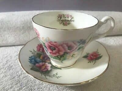 Staffordshire England Teacup and saucer Royal Castle Flower of the month Septemb