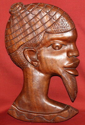 Vintage Hand Carved Wood African Male Wall Hanging Plaque