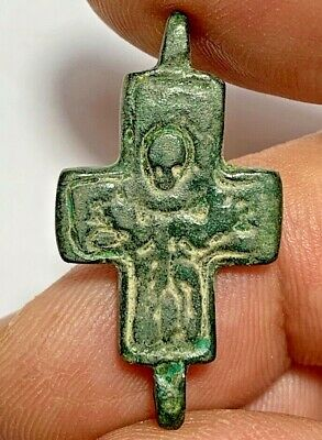 PERFECT BYZANTINE BRONZE CHRISTIAN CROSS PENDANT CIRCA 500-700 AD 4.2gr 36mm